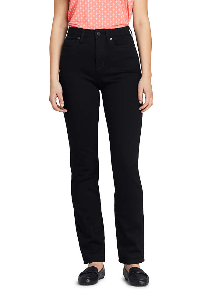 Women's Tall Curvy Mid Rise Straight Leg Jeans - Black , Front