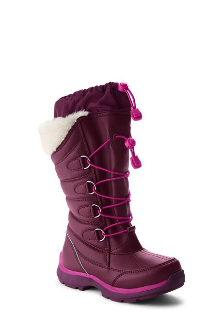 School Uniform Girls Snowflake Insulated Winter Snow Boots
