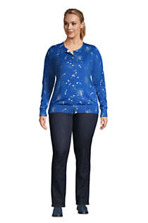 Women's Plus Size Supima Cotton Cardigan Sweater - Print , alternative image