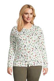 Women's Plus Size Supima Cotton Cardigan Sweater - Print