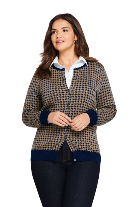 Women's Plus Size Supima Cotton Cardigan Pattern Sweater
