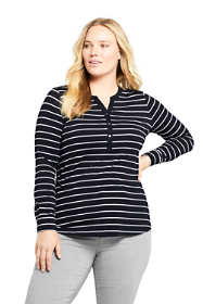 Women's Plus Size Long Sleeve Button Cuff Tunic Top Stripe