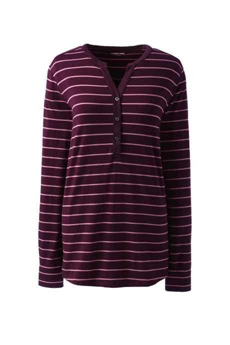Women's Petite Stripe Long Sleeve Button Cuff Tunic Top