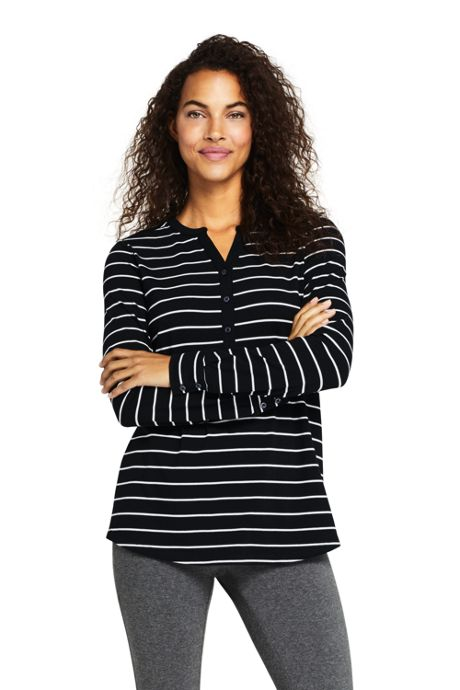 Women's Petite Long Sleeve Button Cuff Tunic Top Stripe