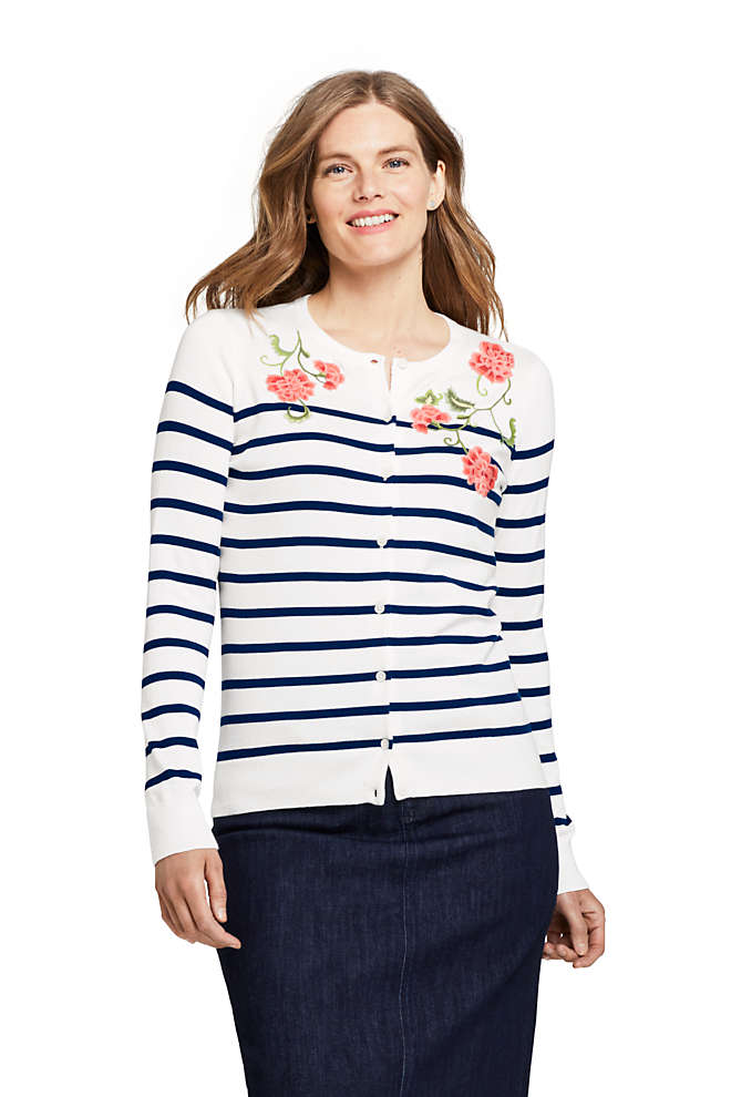 Women's Supima Cotton Embellished Cardigan Sweater, Front