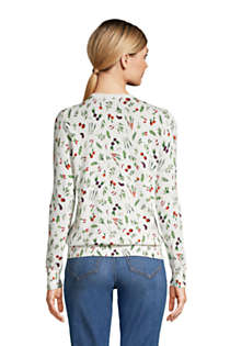 Women's Tall Supima Cotton Cardigan Sweater - Print , Back