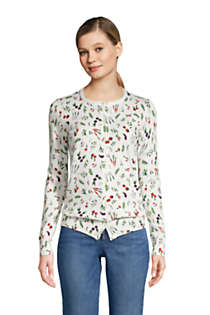 Women's Tall Supima Cotton Cardigan Sweater - Print , Front