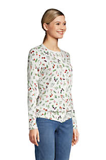 Women's Tall Supima Cotton Cardigan Sweater - Print , alternative image
