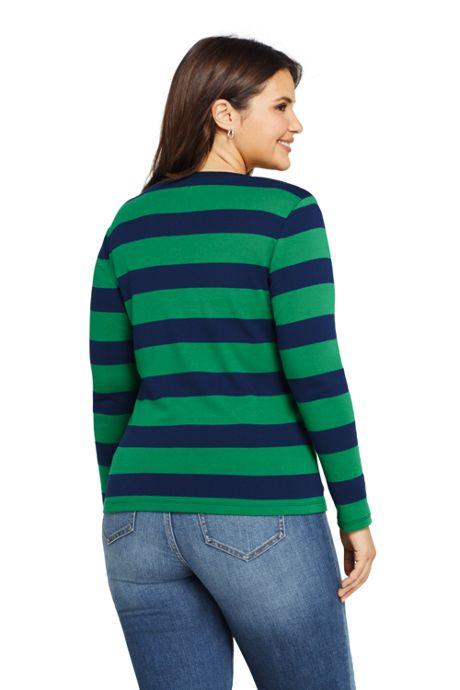 Women's Plus Size Shaped Long Sleeve Stripe T-shirt Cotton V-neck