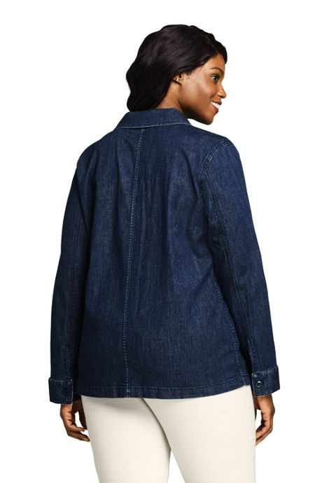 Women's Plus Size Denim Shirt Jacket