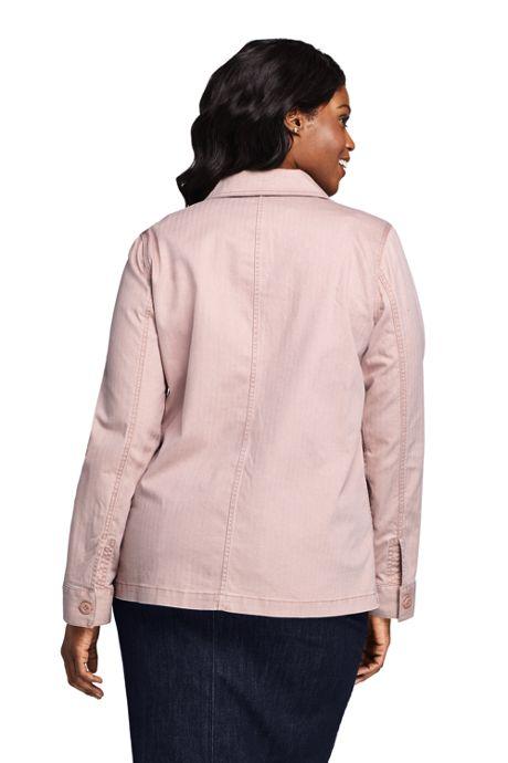 Women's Plus Size Chino Herringbone Shirt Jacket