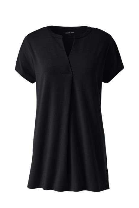 Women's Petite Short Sleeve Notch Neck Tunic Top