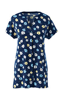 Women's Petite Notch Neck Short Sleeve Tunic Top Print, Front