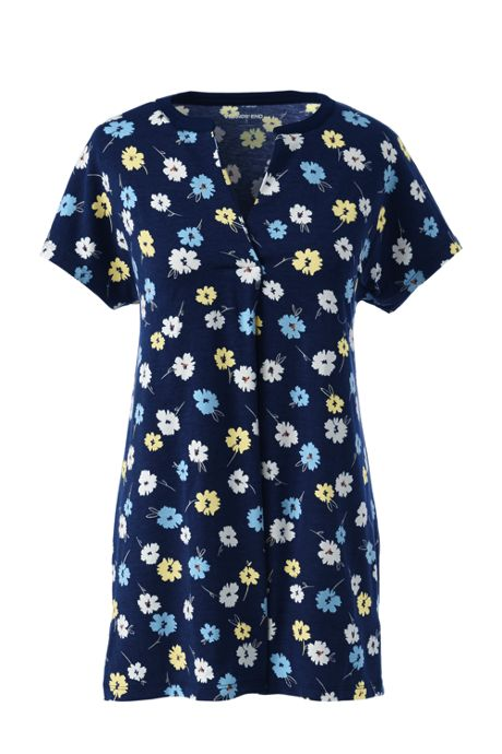 Women's Plus Size Print Short Sleeve Notch Neck Tunic Top