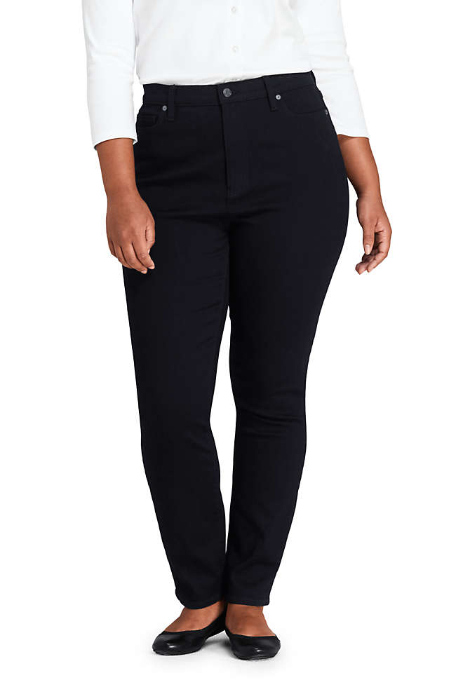 Women's Plus Size High Rise Straight Leg Ankle Jeans, Front