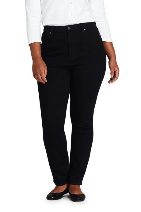 Women's Plus Size High Rise Straight Leg Ankle Crop Jeans