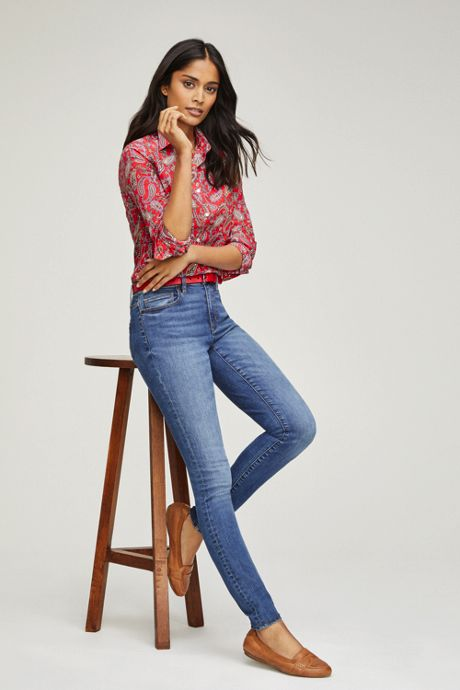 Women's Mid Rise Skinny Jeans - Blue