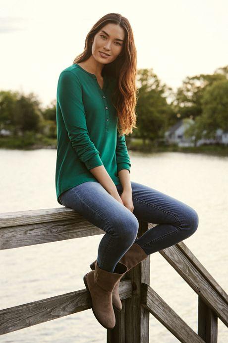 Women's Petite Mid Rise Skinny Jeans - Blue