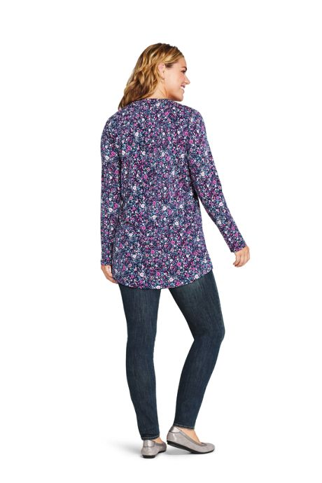 Women's Plus Size Pintuck Button Down Long Sleeve Tunic Top Floral