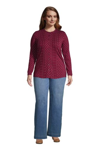 Women's Plus Size Pintuck Button Down Long Sleeve Tunic Top
