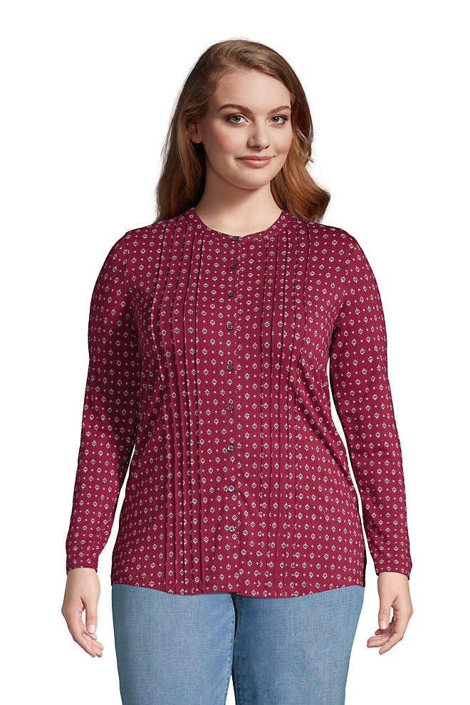 Women's Plus Size Pintuck Button Down Long Sleeve Tunic Top , Front