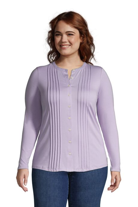 Women's Plus Size Pintuck Button Down Long Sleeve Tunic Top