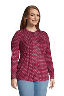 Women's Plus Size Pintuck Button Down Long Sleeve Tunic Top , alternative image