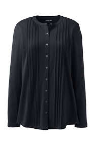 Women's Pintuck Button Down Long Sleeve Tunic Top