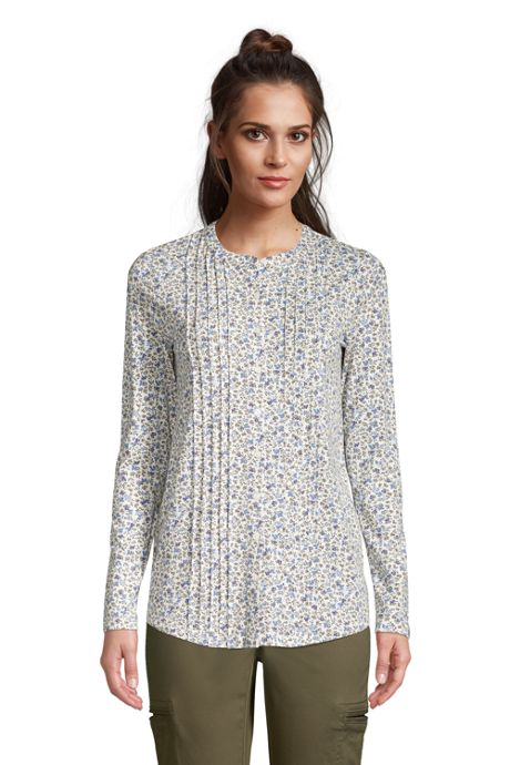 Women's Petite Pintuck Button Down Long Sleeve Tunic Top