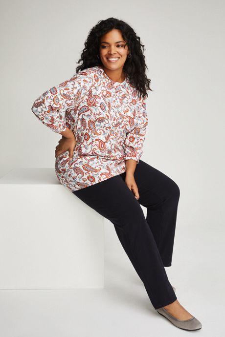 Women's Plus Size 3/4 Sleeve Brushed Twill Tunic