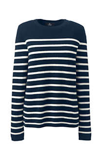 Women's Plus Size Cashmere Crewneck Sweater - Stripe, Front