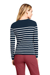 Women's Petite Cashmere Crewneck Sweater - Stripe, Back