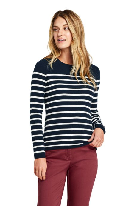 Women's Petite Cashmere Crewneck Sweater - Stripe
