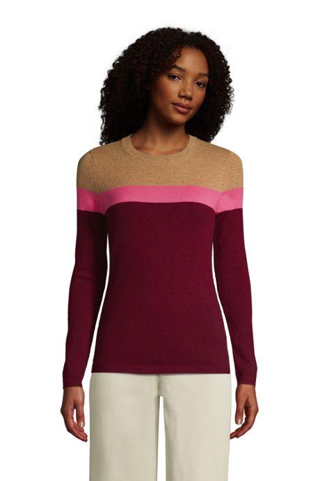 Women's Petite Cashmere Crewneck Sweater - Stripe