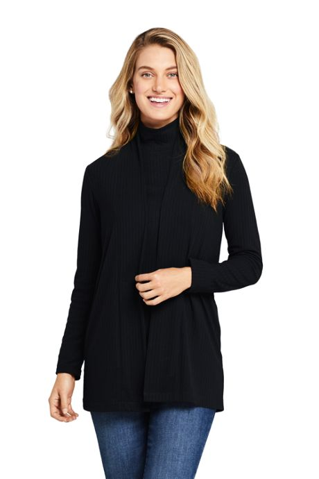 Women's Ribbed Open Front Long Cardigan