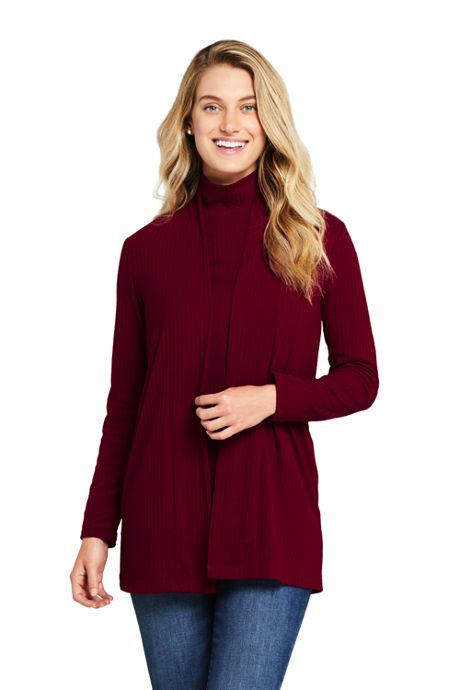Women's Petite Ribbed Open Front Long Cardigan