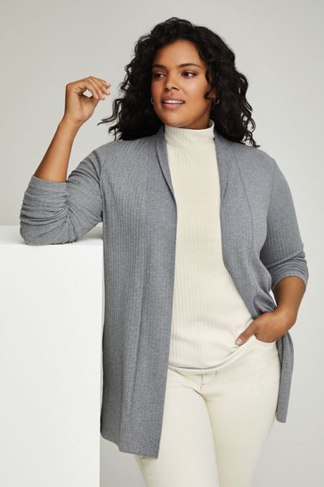 Women's Plus Size Ribbed Open Front Long Cardigan