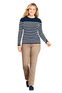 Women's Plus Size Cashmere Crewneck Sweater - Stripe, Unknown