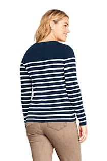 Women's Plus Size Cashmere Crewneck Sweater - Stripe, Back