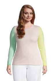 Women's Plus Size Cashmere Crewneck Sweater - Stripe