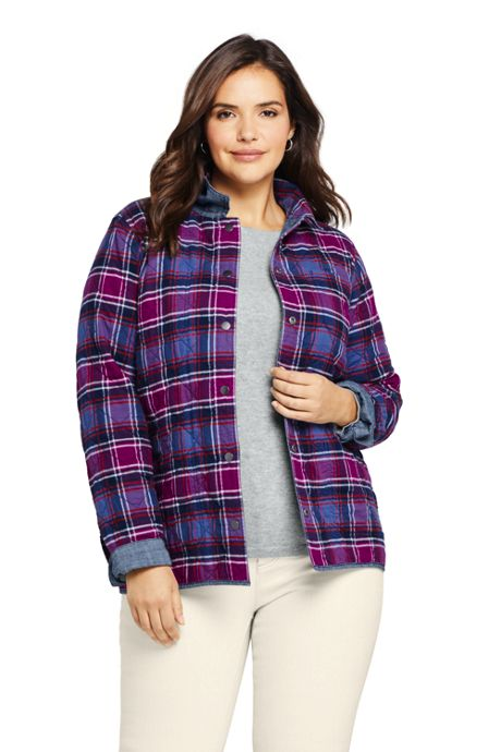Women's Plus Size Reversible Flannel Shirt Jacket