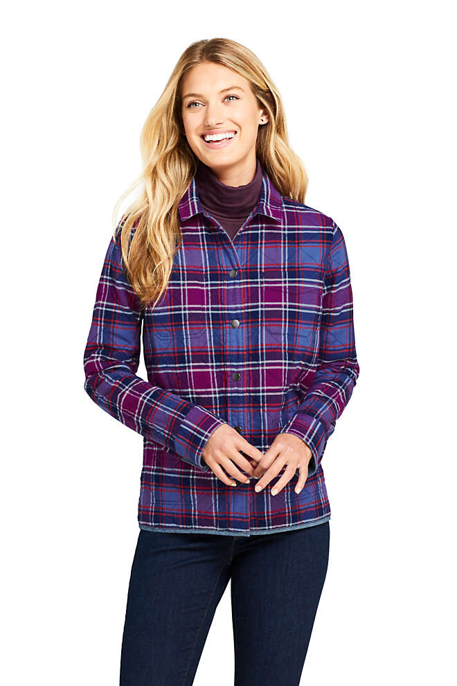 Women's Reversible Flannel Shirt Jacket, Unknown