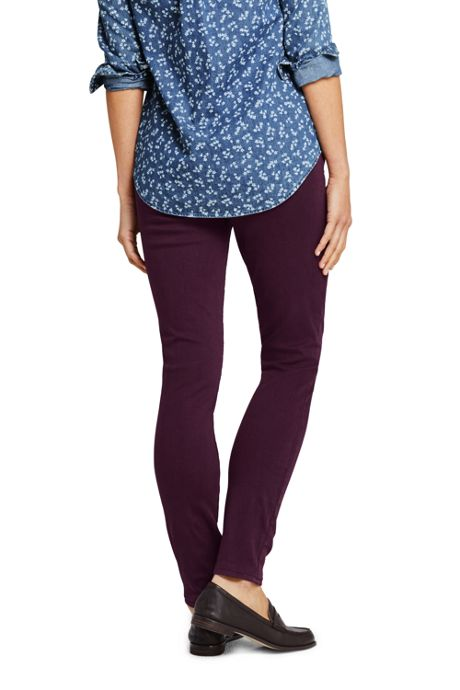 Women's Petite Elastic Waist High Rise Pull On Skinny Legging Jeans - Color