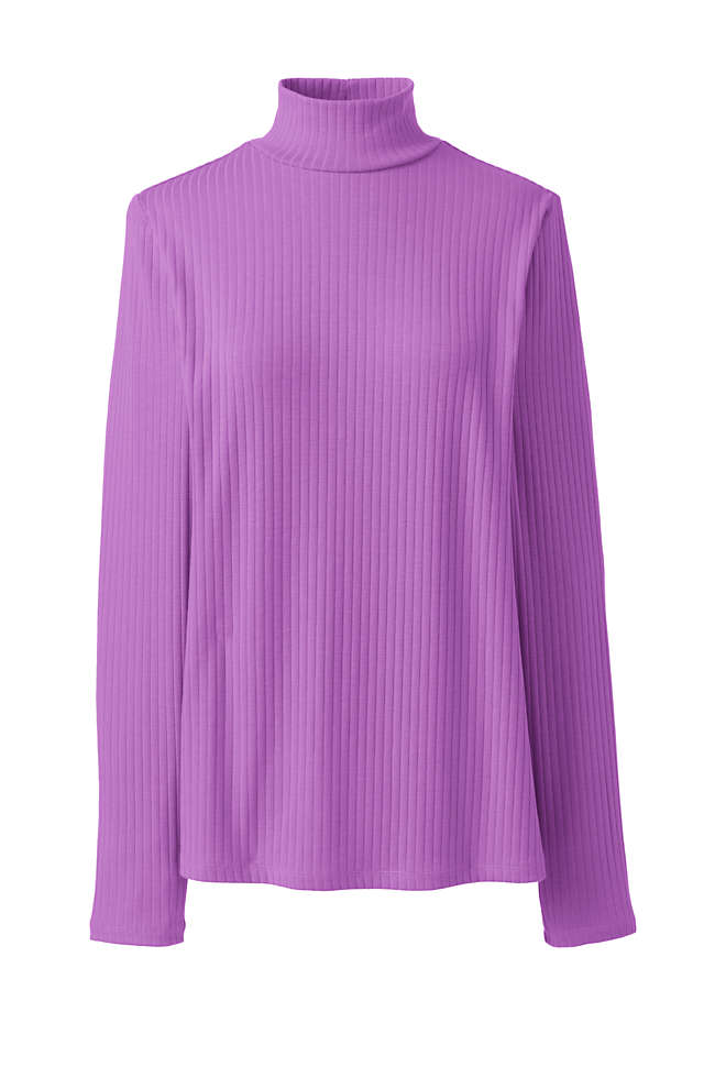 Women's Ribbed Long Sleeve Mock Turtleneck, Front