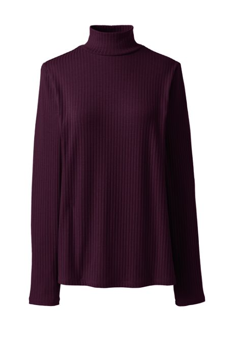 Women's Plus Size Ribbed Long Sleeve Mock Turtleneck