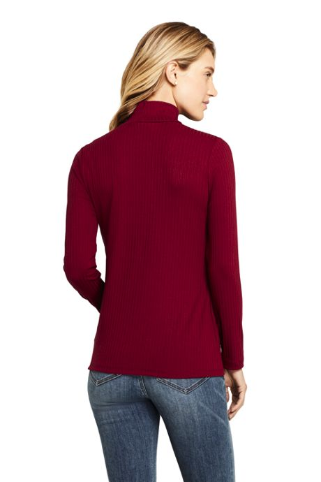Women's Petite Ribbed Long Sleeve Mock Turtleneck