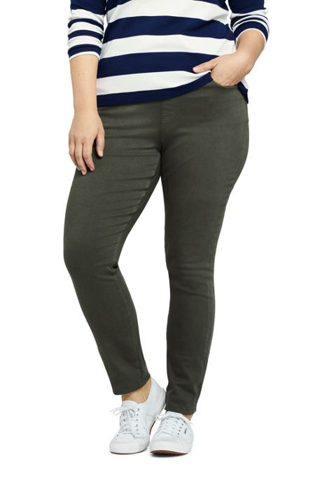Women's Plus Size Elastic Waist High Rise Pull On Skinny Legging Jeans - Color