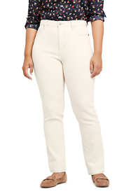 Women's Plus Size Mid Rise Straight Leg Jeans - Natural Off White