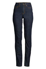 Women's Petite Slimming Compression High Rise Straight Leg Jeans - Blue