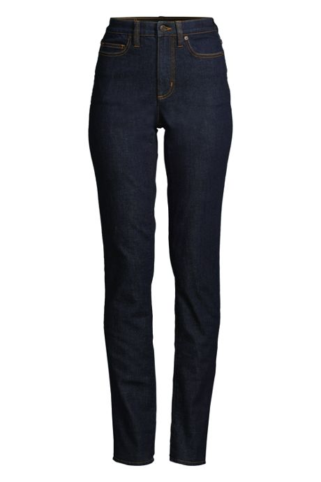 Women's Petite Slimming High Rise Straight Leg Jeans - Blue